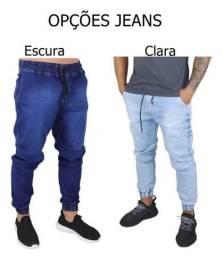 Calças Jeans Camuflada<br>Masculina Jogger C/ Punho Lycra<br>
