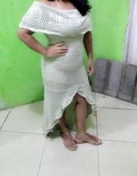 Vendo vestido de crochê bege