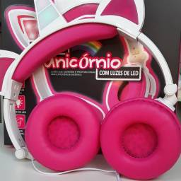 Headphone unicornio luzes de led