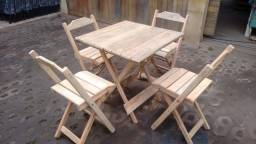Conjunto mesa dobrável (sem pintura)