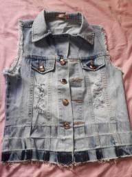 Jaqueta Jeans sem manga tamanho P