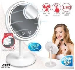 Espelho de maquiagem com LED e ventilador
