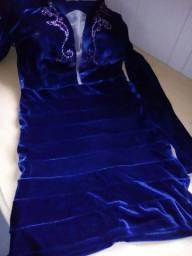 Vestido veludo azul tam. 38 novo Fouruse Glam
