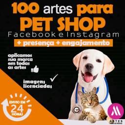 Pacote para Pet Shop e Veterinários -, 100 artes Redes Sociais