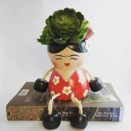Vaso / Cachepó para Suculentas e Cactos - Formato Frida Kahlo
