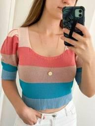 Croped de trico com lurex