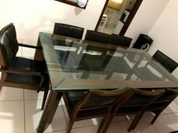 Mesa madeira tampo de vidro