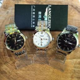 Relógio Masculino Langlishi aço inoxidável a prova dágua movimento Quartz