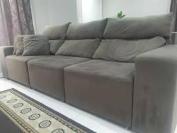 Sofá retrátil reclinável marrom - 3 lugares