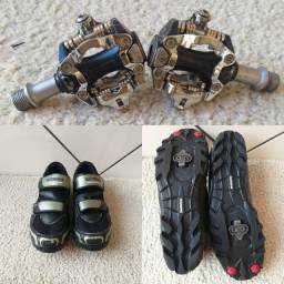 Kit clip:  pedal exustar, sapatilha shimano 42br e taco