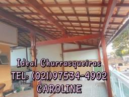 Telhado Colonial e churrasqueira GOURMET