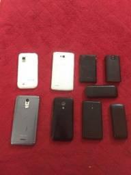 Lote de celulares,capas e películas e carregador portátil inova