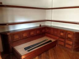 Estante lateral de cama + prateleiras suspensas em madeira (sem a bicama)