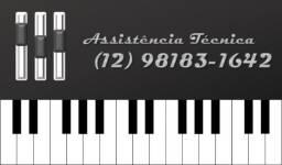 Conserto de órgão, teclado, mesa de som, amplificadores, caixa ativa e passiva
