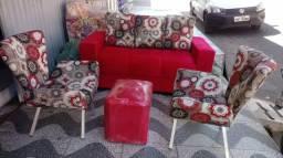 Kit Um Sofa 3 Lugares e duas Poltrona e Puf