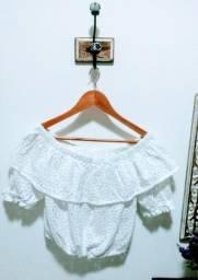Ciganinha branca tecido laise