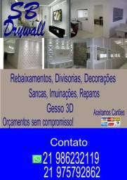 Instalações de Forros e Paredes em Drywall,Placas 3D