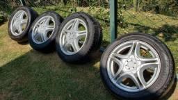 Jogo rodas aro 15 com pneus 195 55 15