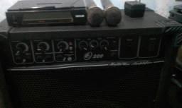 Caixa de som de 12 polegadas mais dois microfone sem fio