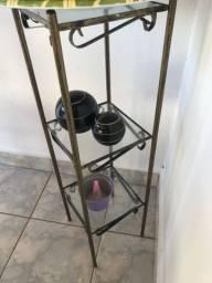 Mini estante de vidro com ferro