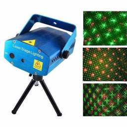 Mini Laser Stage Lighting Projetor Holografico com Tripé