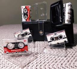 Gravador Panasonic FP Fast Playback 2 Speed + 5 Mini Fitas + 2 Pilhas + Case