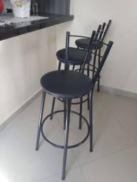 3 Banquetas Preta Alta Cozinha Bancada - Novas