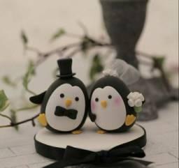 Topo de bolo para casamento pinguins