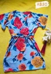 Vestidinho florido de manga com laço na cintura,  Tamanho M
