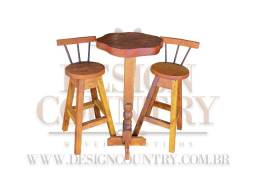 Conjunto mesa bistrô - Madeira maciça (Jaqueira)