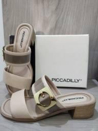 Sandália Picadilly Bege Fivela Dourada