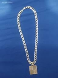 Cordão Grumet de Prata banhado a ouro