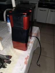 Máquina de café trás coração