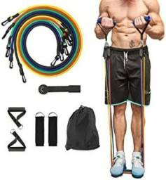 Kit Extensor Elastico Extensores 11 Pecas Exercicio Musculacao Fitness Pilates