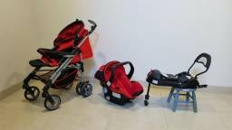 Carrinho de bebê com Bebê-conforto e base de fixação no veículo, marca Infanti