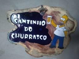Placa de madeira Cantinho do Churrasco
