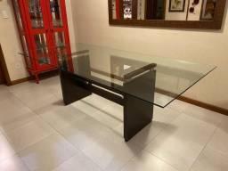 Mesa jantar retangular 8/10 lugares tampo de vidro