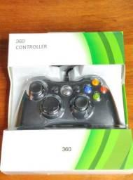 Controle com fio para Xbox 360 e Pc.