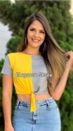 Kit Blusas Croppeds Feminino Bicolor M 5 Peças