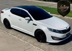 Kia Optima EX 2014 Branco com Couro Bege & GNV 6ª Geração