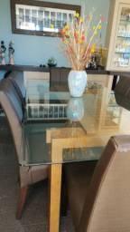 Mesa de Jantar Tampo de Vidro base de madeira