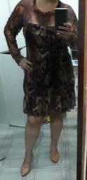 Vestido estampado marron da chiffon usado apenas 1 vez