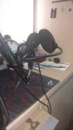 Microfone estúdio profissional Bm800 + Pop Filter + Aranha + Braço articulado