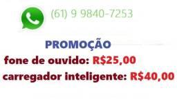 Promoção fones e carregadores de celular
