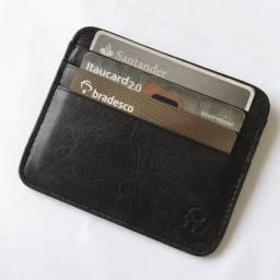Carteira porta cartão slim masculina couro