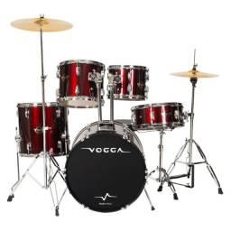 Bateria Acústica Vogga Talent VPD918 WR Vinho Metálico Bumbo 18