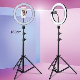Iluminador de Led Com Tripé 1.80cm - Ring Light 26 cm de diâmetro
