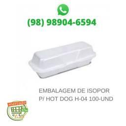 Embalagem de Isopor P/Hot Dog. H-04 com 100-UND