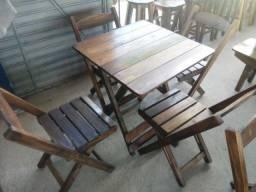 Conjuntos de mesas e cadeiras dobráveis 70x70 +4 cadeiras em promoção