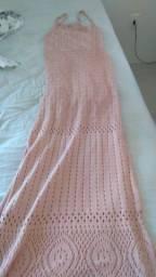 Vestido M croche rosa bebê longo